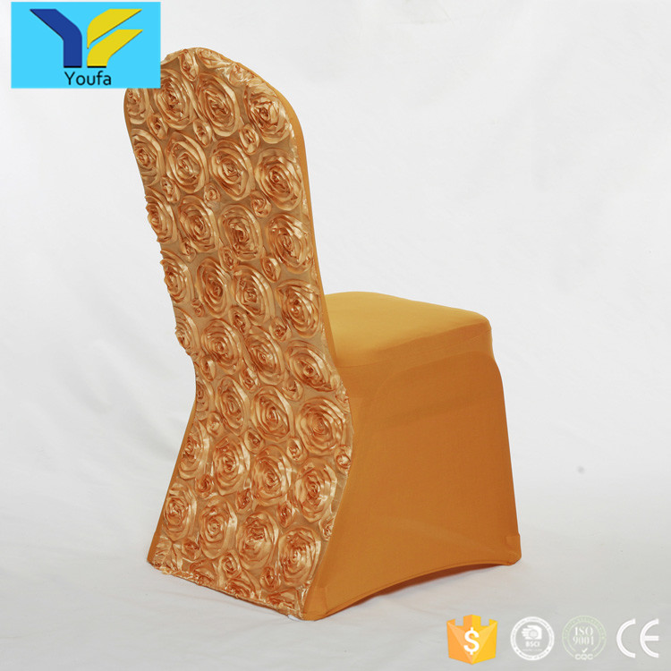 New style gold fancy stretch chair covers wedding decoration spandex wedding rosette chair cover