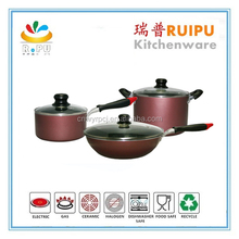 High Quality excellent houseware China popular 6pcs aluminum houseware,ECO friendly wholesale korea mable coating cookware set