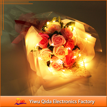 2017 new custom led rose flower bouquet led rose light