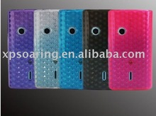 Diamond Silicone rubber case skin back cover for Sony Ericsson X8