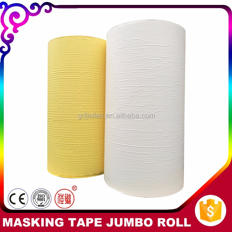 Made In China Light Yellow Masking Tape Crepe Paper Jumbo Roll