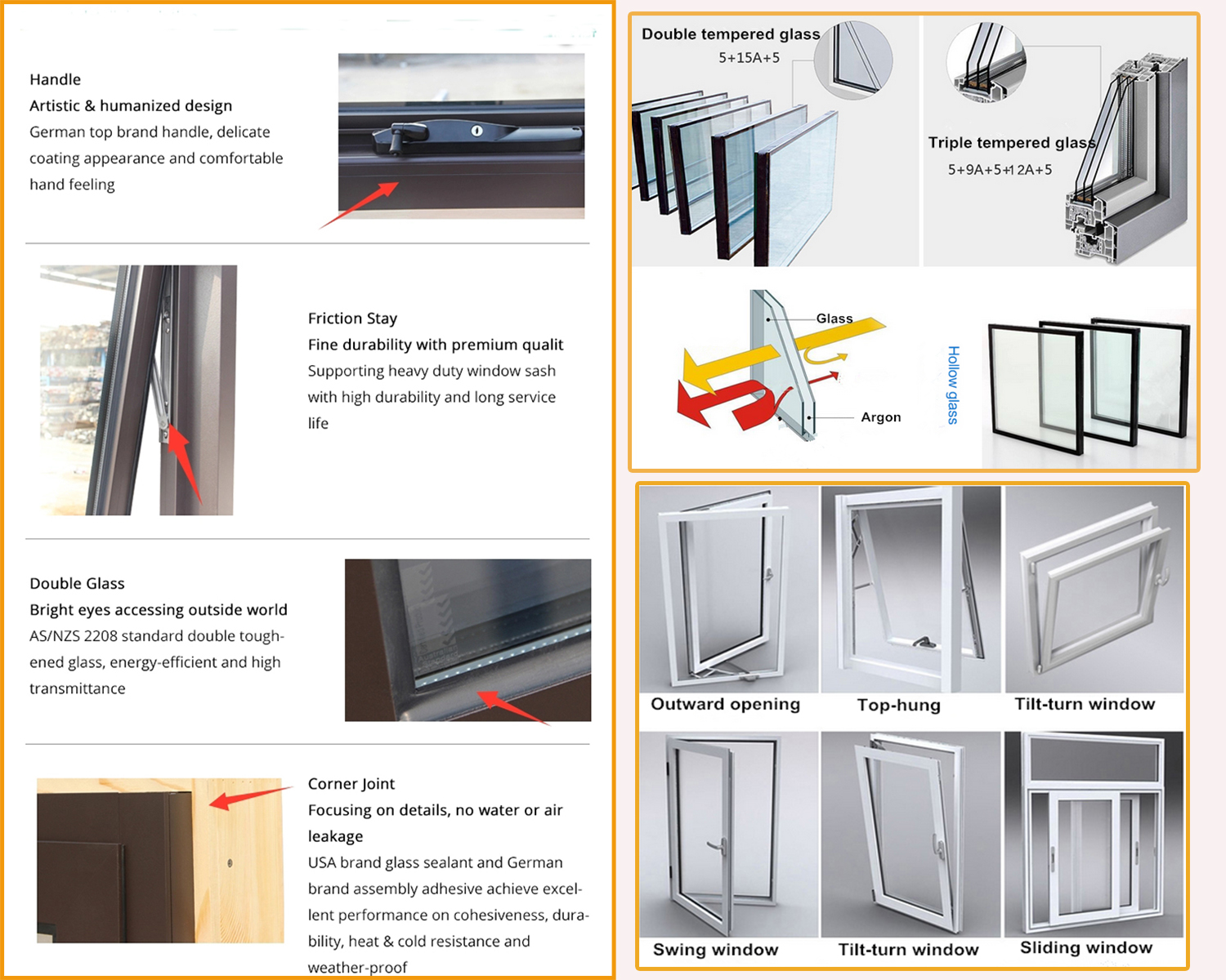 China factory price double glass pvc window profile casement window