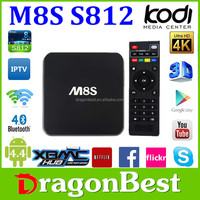 Factory supply 2015 android TV quad core 4k 2k kodi android smart tv box mini pc M8S android 4.4.2 quad core Amlogic S812