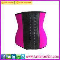 Wholesale four steel bone latex pink fat women under bust corset waist trainers