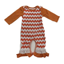 2017 Baby Clothes Baby Wear Romper Orange Long Sleeve Chevron Lace Ruffle Crochet Baby Romper