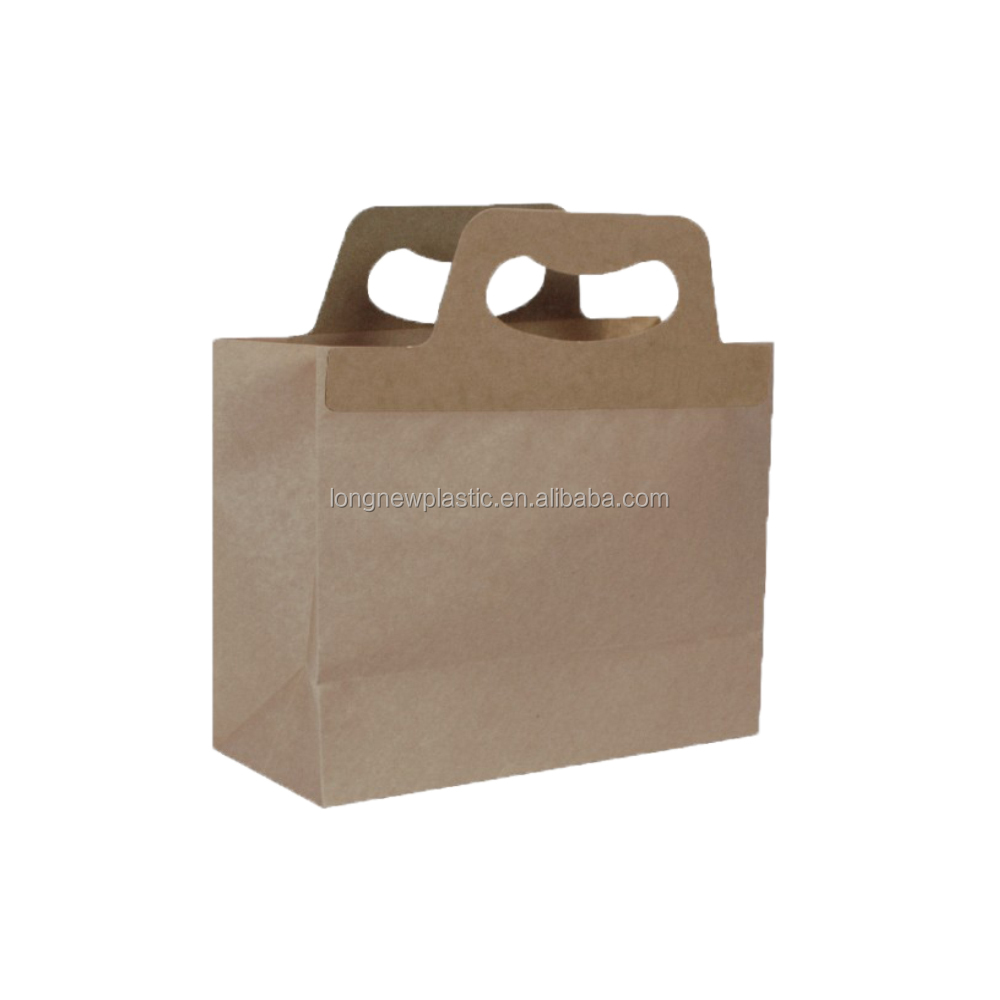 R High Quality Custom Logo Printing Recycle Bag Gift Brown Kraft Paper