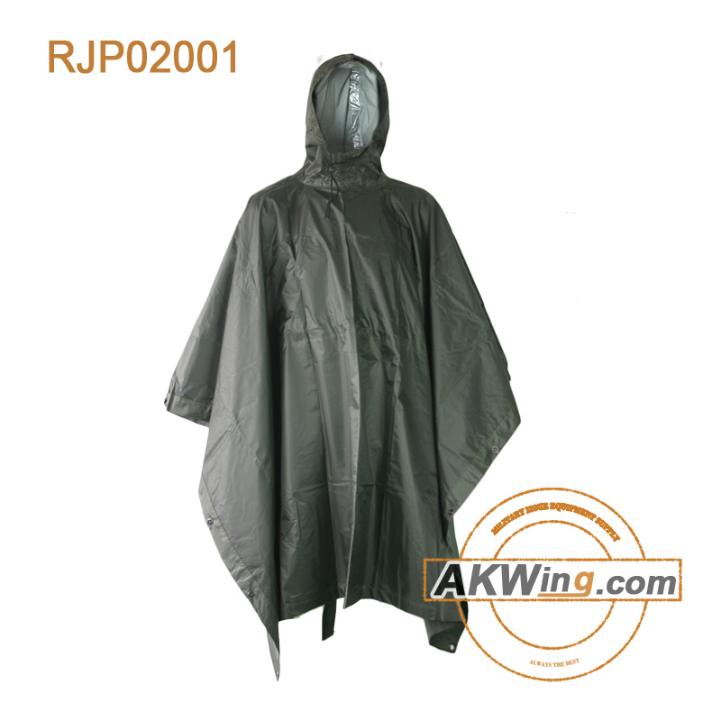 G.I. Type Heavy Duty Long Square Military Hunting Army Green Rain Poncho