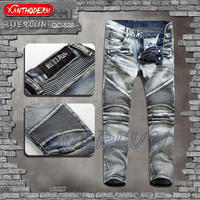 Fold the knee level Nostalgic wash water locomotive jeans men's trousers