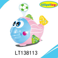 Battery operated musical and light plastic fish toy with floating ball