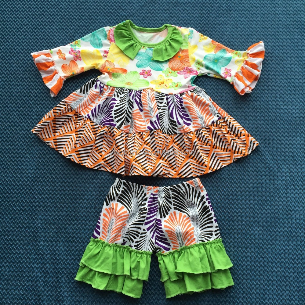 QL-362 middle sleeves green dress and ruffle shorts baby cloths 2016