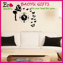 Latest decorative wall mirror clock sticker decoration, sitting room Three-dimensional butterfly angel mirror wall stickers