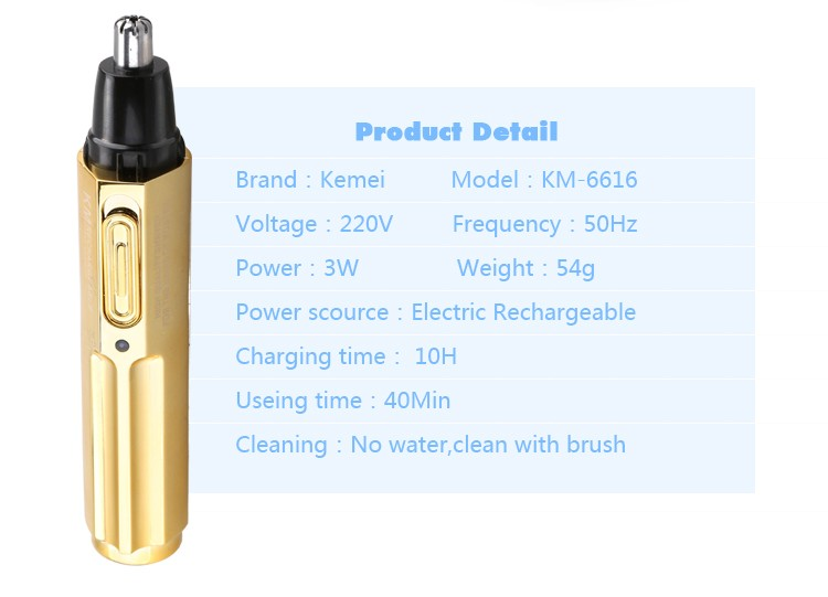 Hot Sale nose hair remover Kemei KM6616 Wholesale Professional Rechargeable Nose and Ear Trimmer with Factory Price