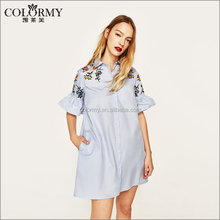 New fashion curved hem short dresses , embroidered printing shirt dress for woman