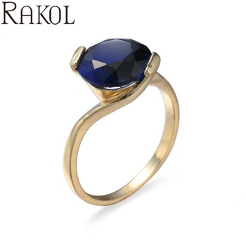 Rakol ZR2341 Gold Plated Tanzanite Diamond Zircon Wedding Engagement Ring