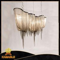 Chrome steel Silver chain suspension chandelier ceiling