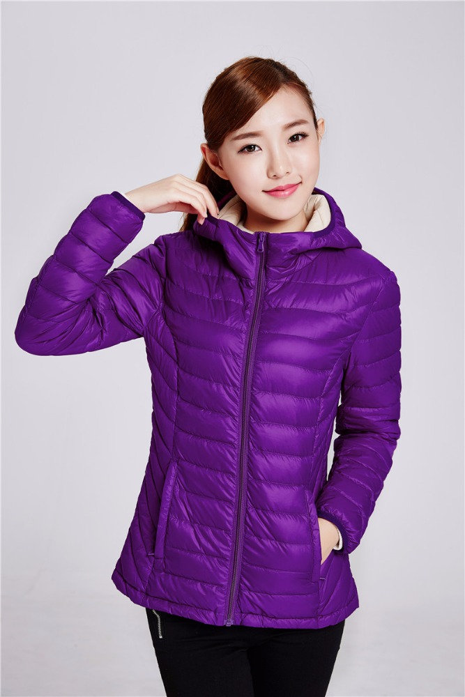 purple woman fashion down jackets