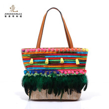 Summer bags manufacturer ethnic style stripe handbag from thailand