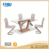 wholesale modern design tempered glass top wooden dining room table