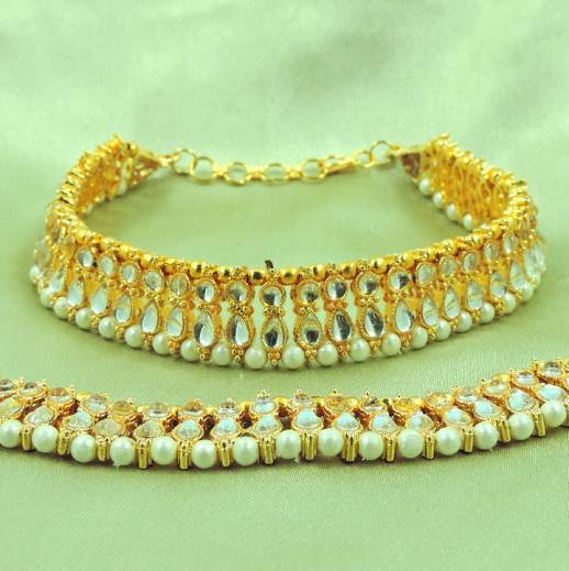 Indian Designer Silver Pearls Beaded Anklet