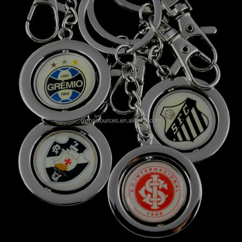 promotional spinning round keychain epoxy key holder