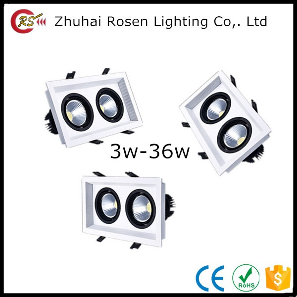 Factory price AC85-265 aluminum warm white double head 3w 5w 7w 9w 12w 15w 18w 24w 36w led double head square down light