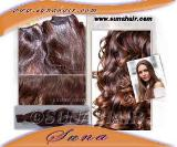 Brazilian natural chocolate color full shining new arrival cheapest price human hair extension
