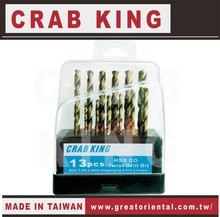 CRAB KING Hand Tools 13 pieces Twist Drill Bits Set Stainless Steel