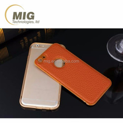 Aluminum frame litchi pattern soft PU leather cell phone case for iphone 6 / 6s case all models