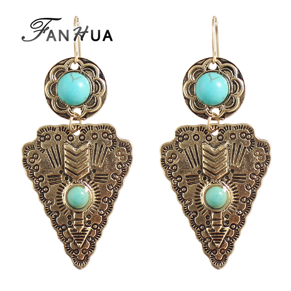 Indian Vintage Style Imitation Turquoise Drop Earrings