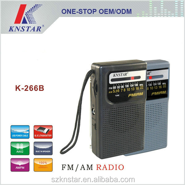 K-266B am fm pocket radio with 5C Li-ion battery