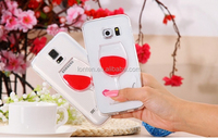 S5/ S6/ Note3/ Note4 Capa Liquid 3D Red Wine Case For Samsung Galaxy S6 G9200/S5 i9600 / Note 3/ 4 Hard Cute Luxury Clear Cover