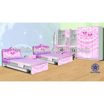 kids bedroom furniture set cheap Girls Bed/Bedroom Set of Glossy Style/children furniture bedroom set 976