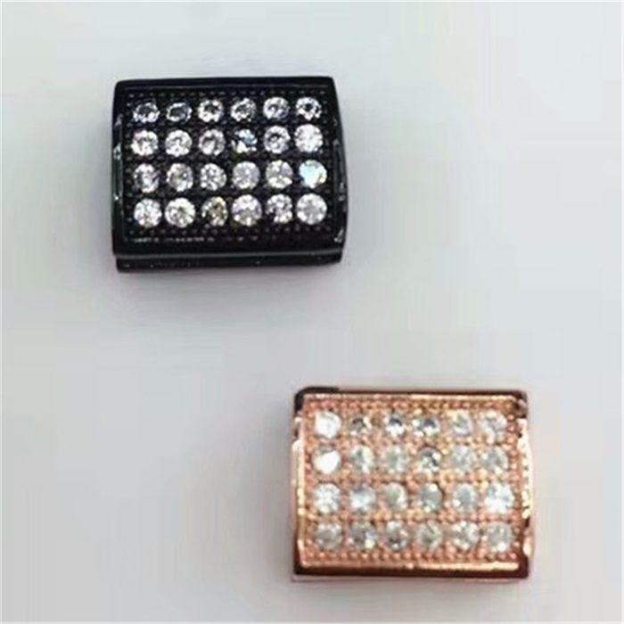 Pave Rhinestone zircon charms CZ silver / gold plated square pendants with good price