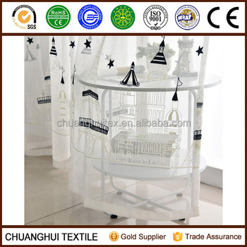 3D embroidered castle voile fabric curtain for children