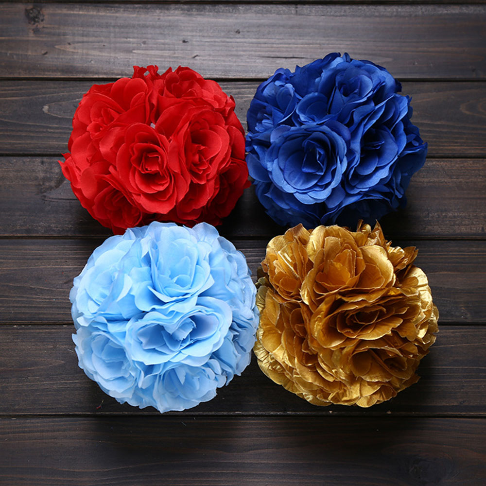 Factory Wholesale 17.8cm(7'') Silk Rose Artificial hanging flower kissing ball for wedding