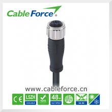 M12 Connector 4pin D code female connector straight molded with Cable waterproof connector