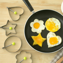Living Well - 3 Shape Fried Egg Mold Non Stick Stainless Steel Pancake Mold Omelette Pancake Rings Cooking Tools(Round)