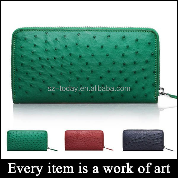 (sz-wallet 67) zip womens leather purse female leather ostrich leather women wallets