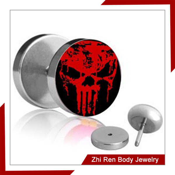 Fired Skull Faux Ear Expander Tunnel Barbell Tragus Screw