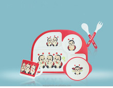 Manufacture Wholesale Lovely Kids Bamboo Fiber Dinnerware Sets with Five Pieces