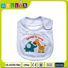 100% cotton cute embroidery baby bibs plain white