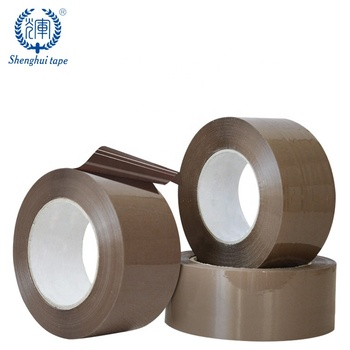 Light brown color acrylic hot melt adhesive tan tape carton box sealing bopp packing tape roll with logo printed