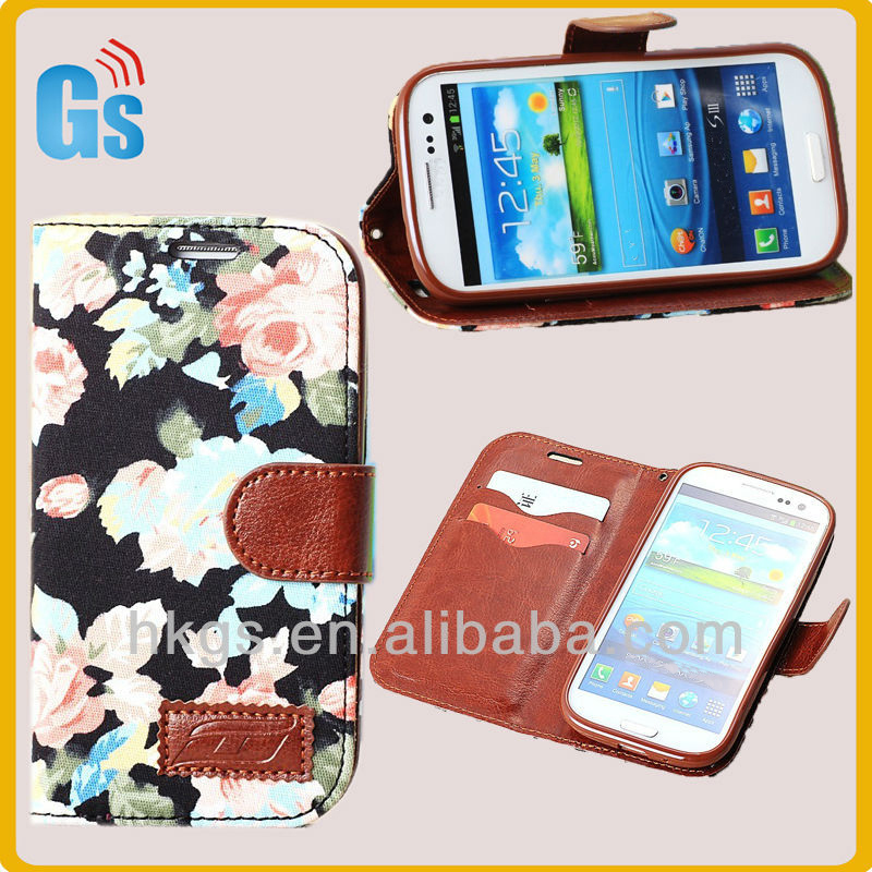 Unique Leather Jean Flower Flip Case Cover For Samsung Galaxy S3 SIII S3 i9300 9300