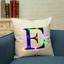 2017 latest design letter cushion cover with led lighting wholesale price
