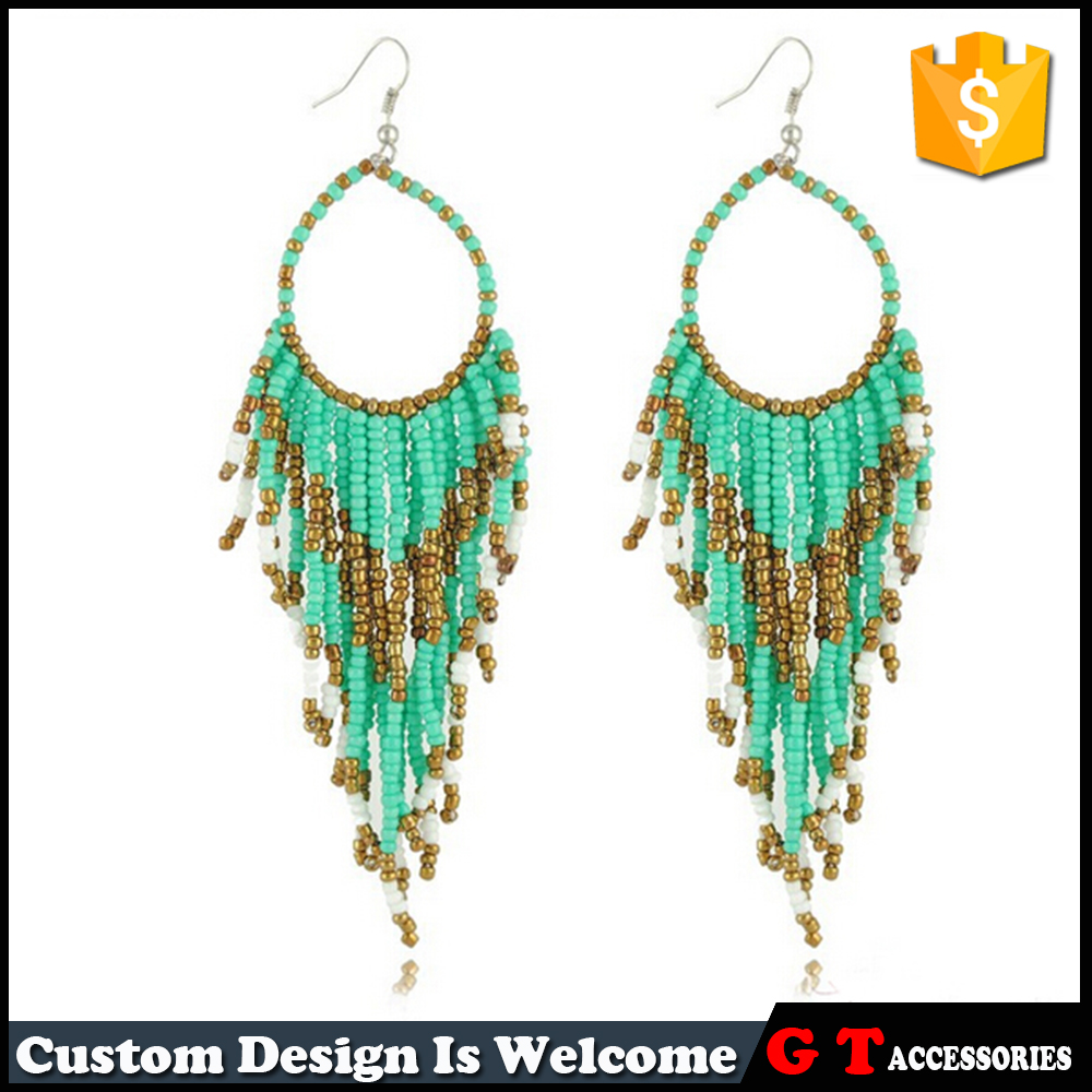 Boho Multi Layered Colorful Plastic Tiny Beads Tassel Fringed Cascade Earring For Women