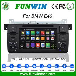 Top Version Android 4.4.4 car DVD quad core double din car radio for BMW E46 mirror link 1080p