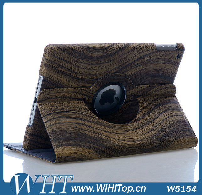 Wood Leather Flip Case for iPad Air 5 Stand Booklet Tablet Smart Cover Wholesale