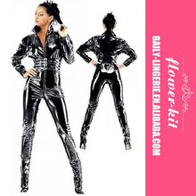 Sexy Black PVC Bodysuit Hot Popular Women Wetlook Zipper Catsuit