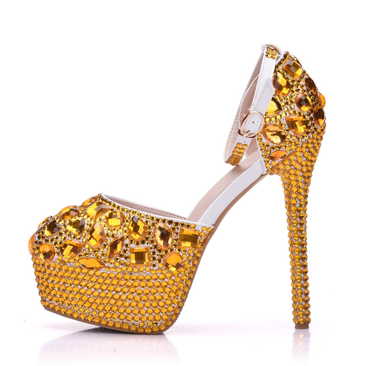 2018 Custom New Gold Rhinestores Sandals Ultra High Heels Pumps for Evening Party
