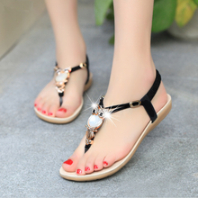 H10172B Fashion flat leather sandal shoes women summer shoes ladies fancy beach sandal